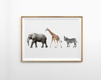 Safari nursery animals - Nursery decor - Safari print - Nursery print - Animal nursery print - Animal photography - Printable nursery art