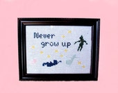 Finished cross stitch ~ Peter Pan decor ~ Never grow up quote decor