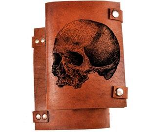 Skull journal - skull notebook - leather skull journal - leather notebook with skull - engraved journal - personalized notebooks