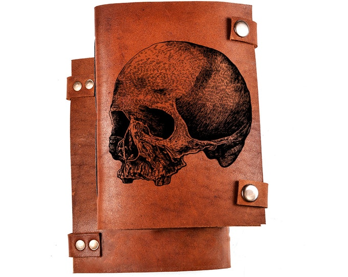 Skull journal - skull notebook - leather skull journal - leather notebook with skull - engraved journal - personalized notebooks