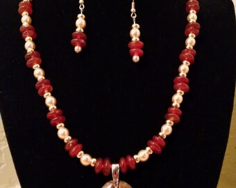 Red Jasper & Red Agate Beaded Jewelry Set