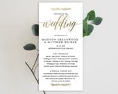 Wedding Program Editable Template | Program Printable, Ceremony Printable | Modern Calligraphy, GOLD | 5x10"