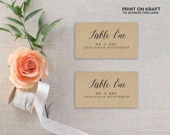 Printable Place Card Template, Wedding Place Cards, Seating Cards,  Printable Template  | No. EDN 5132