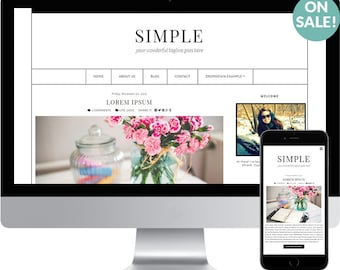 Premade Blogger Template - Responsive Blogger Template - Modern Blogger Template - Minimalist Template - Black and White Template - Simple