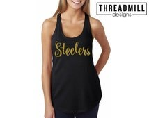 GLITTER Pittsburgh Steelers Tank Top Shirt // NFL Steelers Shirt // Steeler Nation Football Shirt // Glitter Sports Tank Shirt // Steelers