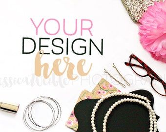 Ms Charming Styled Desktop, Feminine Styled Stock Photography, Styled Mockup, Product Background Photo, Pearls, Gold Makeup, Glasses