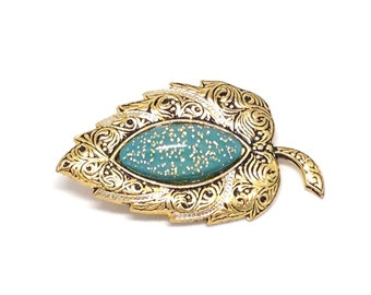 Gorgeous Signed Vintage Estate Spain Damascene Gold Tone Brooch