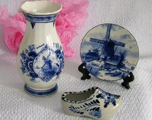 Vase, hoof and plate from DELFT, vase collection, vintage collection, Royal porcelain Delft Holland.
