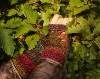 Arm warmers/Autumn accessories/Gloves mittens/Knitted Fingerless Gloves/multicolour mittens/Mitt/Gloves & Mittens/Gift for her/gift ideas
