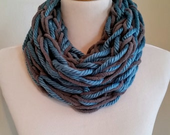 Teal an Gray Cowl, Bulky, Gifts for her, Scarf for woman, Cowl for woman, Handmade, Ready to ship