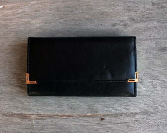 Black Faux Leather Wallet , Vintage 70's Wallet , Accordion wallet , Black leather imitation with Gold Tone Metal Detail , Money Purse