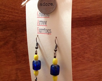 Blue feather and beaded earrings