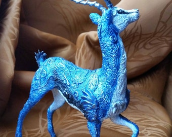 "Lunar Antelope ""Dao"" handmade fantasy sculpture"
