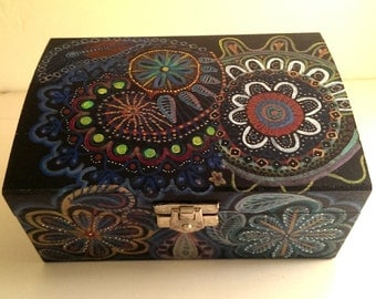 hand decorated wooden box