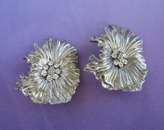 Silver Tone Ruffled Flower Earrings, Clip On