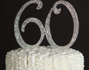 60 Cake Topper - 60th Birthday or Anniversary Decoration - Silver Rhinestone Metal Number - Party Supplies and Ideas