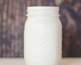 Ivory Mason Jars -  Wedding Mason Jars -  Ivory Vase -  Wedding Decor -  Wedding Gift -  Baby Shower Mason Jars -  Mason Jar -  Rustic Decor
