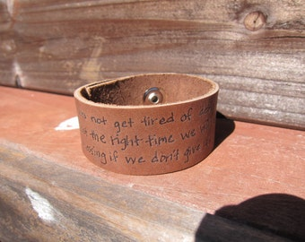 Don't Give Up - Galatians 6:9 Leather Snap Cuff