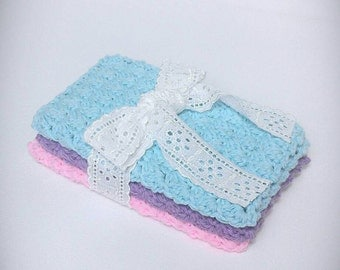 Set of 3 cotton dishcloths, crocheted cotton dishcloths, pastel dishcloths