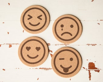 Cork Coasters - Emoji Icon Cork Coasters Gifts