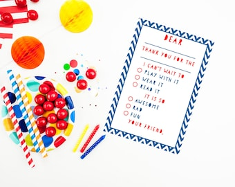 Blue and Red Kid's Fill in the Blank Thank You Cards {instant download}