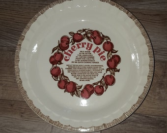 Vintage Cherry Pie Plate Recipe Made in USA Royal China Co