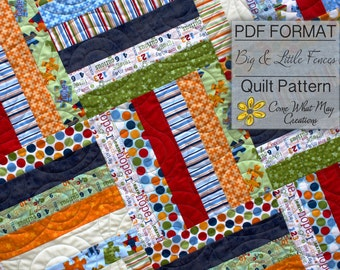 Big & Little Fence Baby Quilt Pattern, Strip Quilt Pattern, Jelly Roll Pattern, Rail Fence Pattern, Beginner Quilt Pattern, Basic Quilt Easy