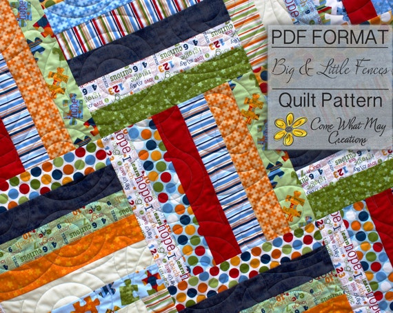 Big & Little Fence Baby Quilt Pattern Strip Quilt Pattern : fence rail quilt pattern instructions - Adamdwight.com