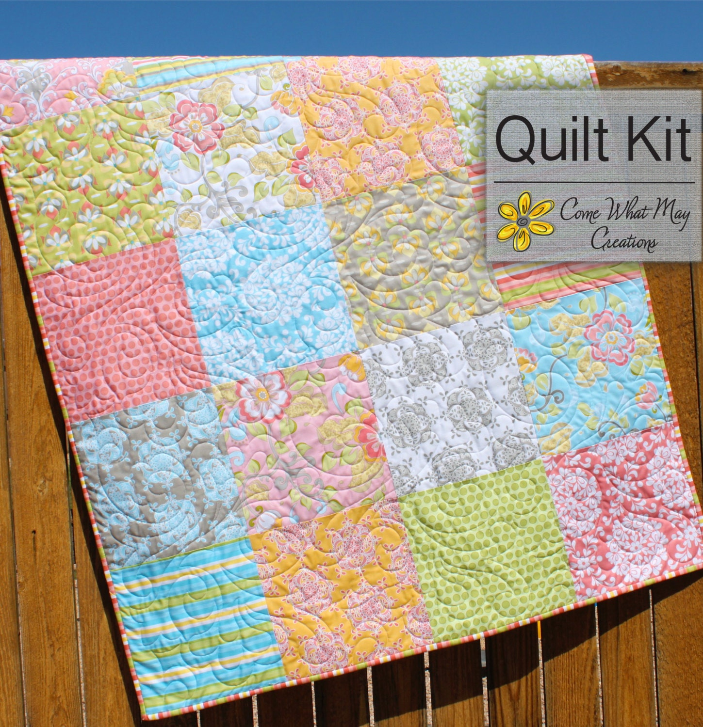 Priscilla quilt kit baby quilt kit baby by comewhatmaycreations - Quilt rits ...