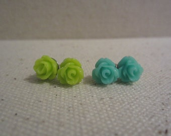 Two Pairs of Dainty Rose Stud Earrings