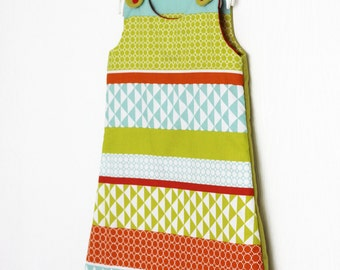 Sleeping bag Camille 0-6 months - red and green sleeping bag - sleeping bag is hand - graphic sleeping bag - red turbulette