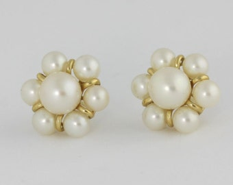 Antique Pearl Earrings, 14k Gold Pearl Earrings, Gold Jewelry, Pearl Jewelry, Pearl Earrings