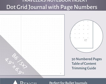 B6 / 5x7 Dot Grid Bullet Journal Insert with Page Numbers - Printable for Travelers Notebooks