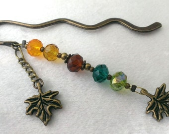 Maple Leaf in the Fall - Autumn themed leaves & autumnal colours bookmark