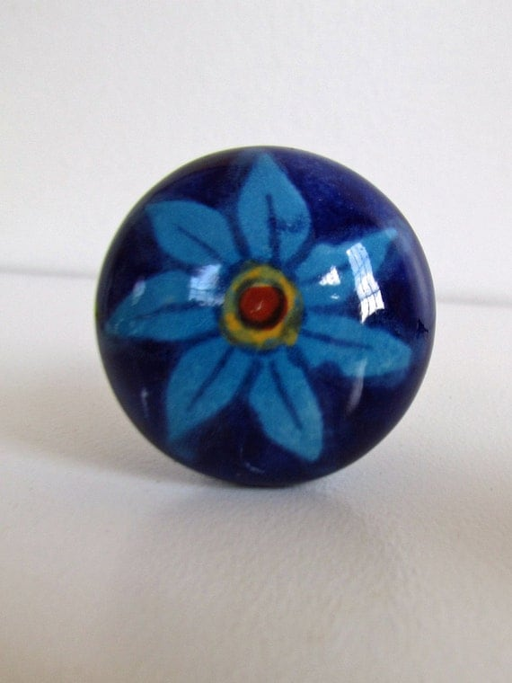 set of 6 decorative ceramic knobs blue daisy kitchen