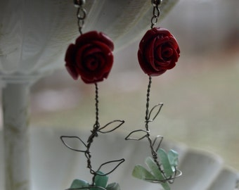 Red Rose Wire Wrapped Leaves