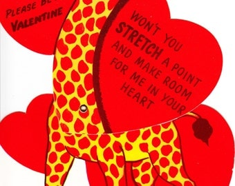 "Large moveable Valentine, Giraffe ""won't you stretch a point"" with white envelope 1950's unused."