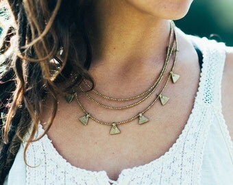 Layered Gold Necklace, Multi strands necklace, Delicate necklace, Bohemian earthy ethnic jewelry, Festival necklace, gold Wedding necklace