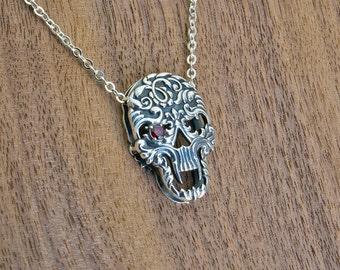 Sterling Silver Skull Sugar Skull Necklace Skull Pendant Skull Locket Skull Jewelry Skull Sharm