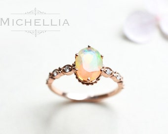 14K/18K Opal Engagement Ring with Diamond, Solid Gold Ethiopian Fire Opal Promise Ring, Rose Gold Yellow Gold White Gold, October Birthstone