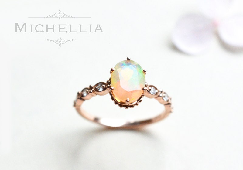 14K 18K Opal Engagement Ring with Diamond Solid Gold