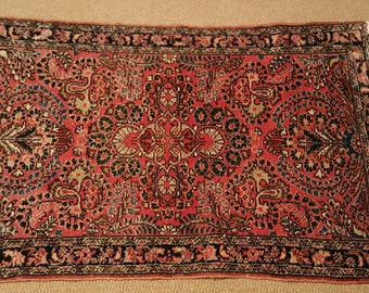 "30"" x 48"" Persian Sarouk rug with fringe 2nd quarter 20th Century"