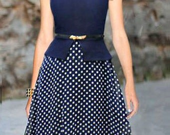 Navy Vintage Polka Dot Dress
