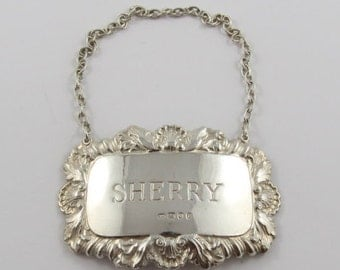 Sterling Silver Sherry Decanter Tag