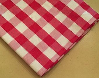 Gingham Dupioni Check Silk Fabric Red White Picnic Print Lot 6.5 yards