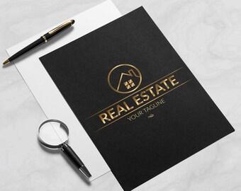 Real Estate Logo & Business Cards Bundle, - Realtor Logo, Gold Logo, OOAK Design, Premade Logo,
