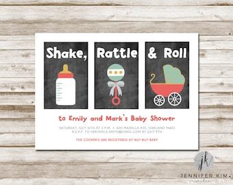 Shake, Rattle & Roll - Baby Shower - Digital Invitation - 5 x 7
