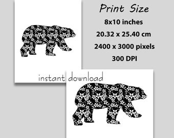 Instant Download, 8x10 inch, Floral Black and White Bear, Silhouette, Poster Art Print, (1006) Wall Art Decor