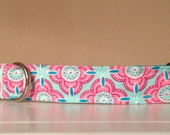 Pink and Blue Girly Flower Dog Pet Collar