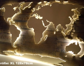 3D world map XXL made of wood with lighting (vintage look with LED)